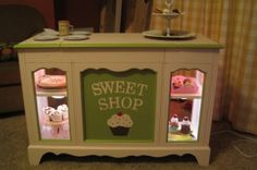 """diy """"sweet shop"""" play bakery from old stereo console.cute take on the classic play kitchen Diy For Kids, Crafts For Kids, Diy Crafts, Kids Furniture, Furniture Making, Recycled Furniture, Diy Play Kitchen, Kitchen Display, Play Kitchens"""