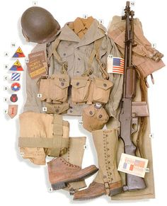 US infantry, 1942-1945. 01 - M1 helmet 02 - M1934 shirt 03 - M1934 sweatshirt 04 - M1941 trousers 05 - service boots 06 - M1938 leggins 07 - M1926 life belt 08 - M1937 ammo belt 09 - M1924 personal dressing 10 - M1910 canteen 11 - gas mask bag 12 - M1918A2 Browning Automatic Rifle with M1907 belt 13 - armband 14, 15 - obvious 16 - shoulder badges: A - 1st Armoured B - 2nd Arm C - 3rd Infantry E - 34th Inf F - 1st Inf