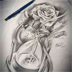 Hourglass and rose tattoo design. Interested in getting one as a tattoo get in touch: Roma m De Time Tattoos, Body Art Tattoos, Small Tattoos, Sleeve Tattoos, Cool Tattoos, Form Tattoo, Shape Tattoo, Flower Tattoo Designs, Flower Tattoos