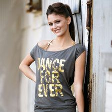 """This """"Dance Forever"""" open back graphic tee worn with a gold bra top was Leah's favorite item from her photo shoot."""