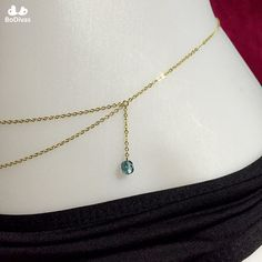 Belly Chain One-side Double Gold or Silver Chain 4 by BoDivas #bodychain #waistchain #bellychain