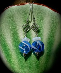 Blue and White Hollow Glass Earrings by practicallyfrivolous, $26.00