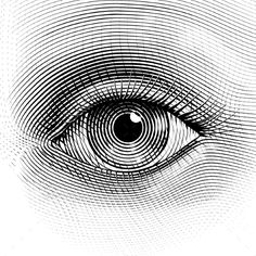 Illustration of Vector human eye in engraved style. Organized by layers. One global color. vector art, clipart and stock vectors. Gravure Illustration, Eye Illustration, Engraving Illustration, Op Art, Ojo Tattoo, Arte Linear, Realistic Eye Drawing, Drawing Eyes, Eye Drawings