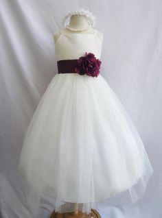 cc8e5ac1a Flower Girl Dress IVORY w/ Purple Plum RB2 Wedding Children Easter  Bridesmaid Communion Yellow Purple