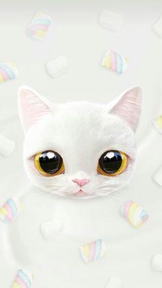 Sweet white kitten,