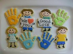 On of my daughter's two daycare class teachers is moving across the country. I made her these cookies to show our appreciation for all she's done for the kids. Cookies For Kids, Cute Cookies, Cupcake Cookies, Sugar Cookies, Cupcakes, Preschool Teacher Gifts, Daycare Themes, Graduation Cookies, Back To School Gifts