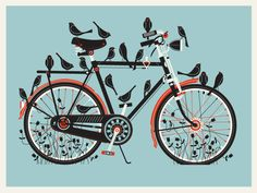 Bird Bike Giclee. $20.00, via Etsy by Methane Studios