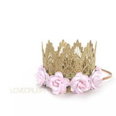 Ready to Ship || Sienna with palest pink flowers || gold lace crown headband ||