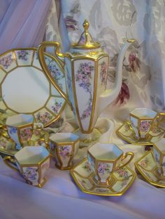 Stunning Art Nouveau Antique Limoges France Chocolate Set, Gorgeous Roses and Violets, Circa 1900