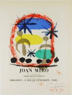 """Joan Miró (1893 - 1983), """"Constellations"""", offset color lithograph, pencil signed, dated 1961, presumably by artist. 12.25"""" x 9.19"""""""