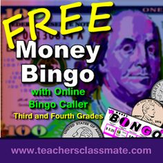 FREE - Money Bingo 4 with Online Bingo Caller Math Centers Pack - For 3rd and 4th Grades. Use online bingo caller to draw question cards and display called answers while students play along with their own bingo cards.