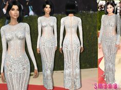 Clothing: 171 - Kylie Jenner Met Gala'16 Dress by sims2fanbg from The Sims Resource • Sims 4 Downloads