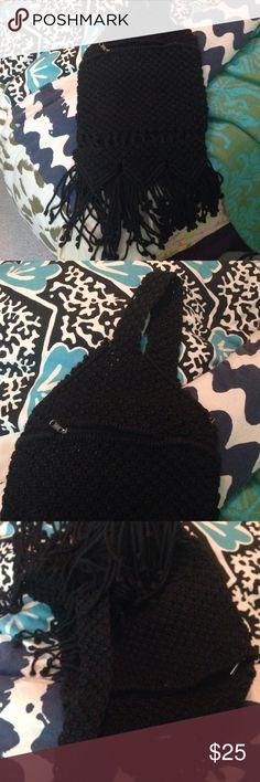 RVCA one shoulder macrame backpack Crochet bag with fringe. Can be a purse or backpack. RVCA Bags Backpacks