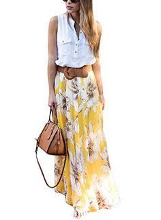 5d6eb69bb38 Asvivid Women s Summer Bohemian Floral Elastic Waist Chiffon Casual Maxi  Skirt Small Yellow Clout Wear