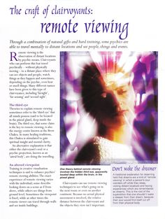 Divination:  The Craft of Clairvoyants: #Remote #Viewing.