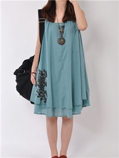 Ericdress Solid Color Casual Dress