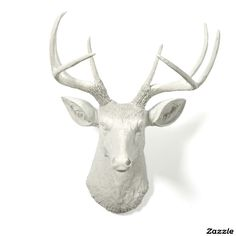 White Antlers with White Stag Deer Head