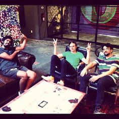 . @newbeings taking a break from #rehearsal in the @guitarcenter room #rubbertracksnyc #converse