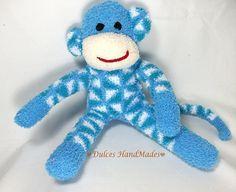 plush handmade sock monkey etsy 24 dollars