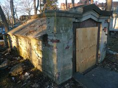 This mausoleum sits in the Barker-Quaker Burying Ground, an abandoned cemetery smack in the middle of Larchmont, NY. Many of the gravestones have broken or fallen over and nobody has been buried here since the late 19th century.