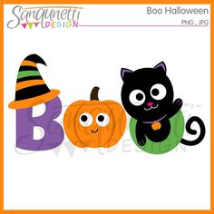 Boo Halloween Clipart Commercial Use License by SanqunettiDesigns