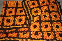 crochet orange et marron vintage