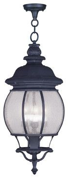 Livex Lighting 7910-04 Frontenac Outdoor Pendant Black - traditional - Outdoor Hanging Lights - Outdoor Lighting Supply