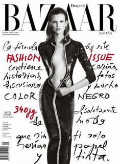 An Armani Clad Bette Franke Covers Harpers Bazaar Spain October 2012