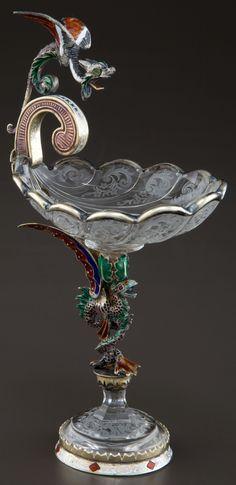 Silver gilt, enamel & rock crystal coupe with figural stem. Vienna, Austria, circa 1870-1880.