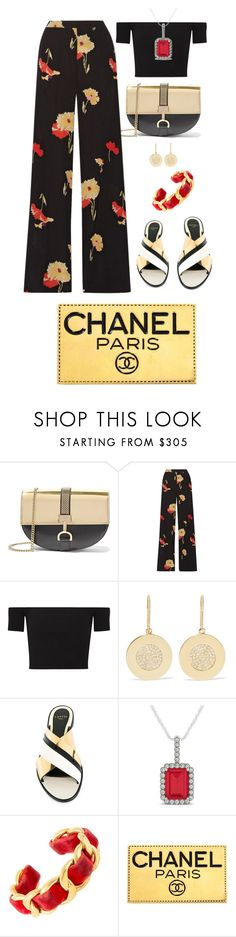 """""""Classic Black With Gold"""" by shamrockclover ❤ liked on Polyvore featuring Lanvin, Etro, Michael Kors, Jennifer Meyer Jewelry, Allurez and Chanel"""