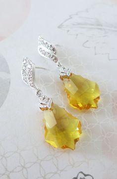 Swarovski Topaz Baroque Crystal Earrings, Cubic Zirconia Earrings, Gold Weddings, Bridal Bridesmaid Jewelry, yellow silver crystal, www.glitzandlove.com