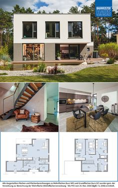 Sims House Plans, Family House Plans, Modern House Plans, Small House Plans, Two Storey House Plans, German Houses, Dental Office Decor, Villa Plan, Dream House Exterior