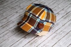 Newborn Oxford Cap  Brown plaid by LorasBabyBoutique on Etsy