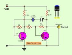 Transistors crystal Oscillator circuit ideas, to sine waveform Simple Electronics, Electronics Components, Electronics Projects, Basic Electronic Circuits, Electronic Schematics, Dc Circuit, Circuit Diagram, Chemical Engineering, Electrical Engineering
