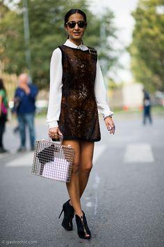 Winter Outfit Idea Wear a Shirt Under a Dress | StyleCaster