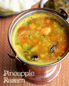 pineapple-rasam-recipe  Pineapple2 rings/ slices Tomato2 Rasam powder1 tsp Turmeric1/8 tsp Cooked toor dal1/2 cup SaltAs needed Curry leaves1 sprig Coriander leaves2 tblsp  To grind coarsely Pepper1 tsp Jeera1 tsp Garlic4 flakes  To temper Oil2 tsp Mustard1 tsp Fenugreek seeds (optional)1/2 tsp Red chilli2 Asafoetida1 pinch