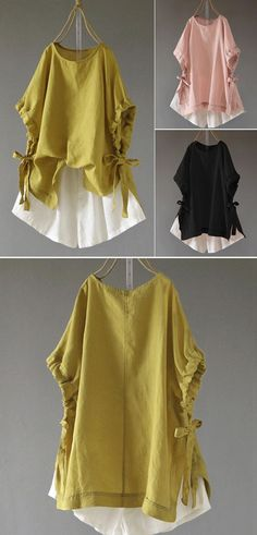 【Women Short Sleeve Crew Neck Side Split Hem Cotton now - Trendy Looks for Women Fashion Sewing, Diy Fashion, Fashion Outfits, Womens Fashion, Sewing Clothes, Diy Clothes, Clothes For Women, Blouse Styles, Blouse Designs
