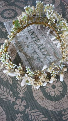 Superb antique French bride's wax orange blossom wedding crown & from frenchfadedgrandeur on Ruby Lane