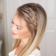 Very romantic braided hair tutorial video!Very romantic braided hair tutorial video! Side Braid Hairstyles, Cool Hairstyles, Updos Hairstyle, Style Hairstyle, Rocker Hairstyles, Fine Hair Updo, Casual Hairstyles For Long Hair, Five Minute Hairstyles, Bob Wedding Hairstyles