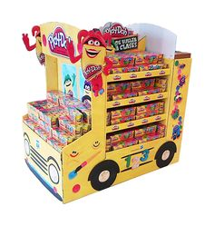 Hasbro - School Bus - Cardboard on Behance Pallet Display, Pos Display, Store Displays, Display Design, Cardboard Display, Cardboard Bus, Back To School Displays, Promotion Display, School Supply Store