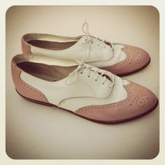 Pink & White Oxford Shoes