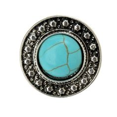 Starr Y Women's Inlay Round Turquoise Alloy Stud Earrings