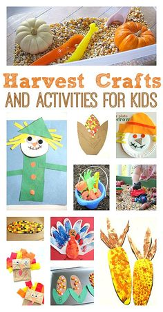 Harvest themed crafts for toddlers and preschool. Harvest themed crafts for toddlers and preschool. Thanksgiving Activities, Autumn Activities, Craft Activities For Kids, Craft Ideas, Harvest Activities, Kids Thanksgiving, Diy Ideas, Thanksgiving Projects, Activity Ideas
