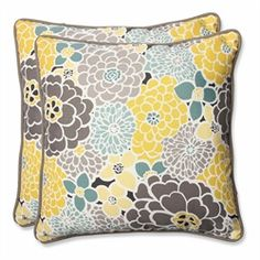 Pillows feature a collage of large flower blooms in gray, yellow and light blue Provides exceptional comfort and modern style Sewn seam closure Matchin 31350973