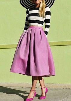 Sunshine & Stripes by Atlantic-Pacific summer outfits womens fashion clothes style apparel clothing closet ideas purple skirt striped sweater black hat Derby Outfits, Mode Outfits, Derby Attire, Fall Outfits, Look Fashion, Womens Fashion, Fashion Trends, Retro Fashion, Dress Fashion