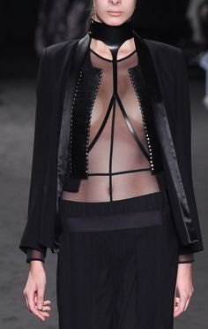 Transparency - sheer top & leather harness; all black fashion details // Ann Demeulemeester Spring 2016