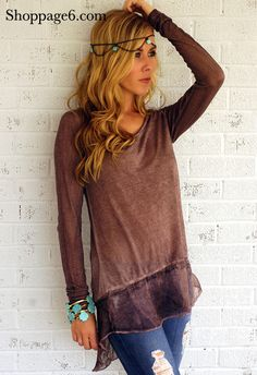 Are you preparing for Fall yet? Well we sure are with this precious top featuring long sleeves and VERY LIGHTWEIGHT. Although this long sleeve top is light, it is not sheer on the body. U shaped neckline. Around bottom hem is a sheer chiffon trimming. Style this top to perfection with a pair of your favorite Page 6 denim shorts and lovely Gold jewelry.     50% Polyester  50% Rayon  Imported  Hand Wash Cold  Wash with Dark Colors  Hang To Dry