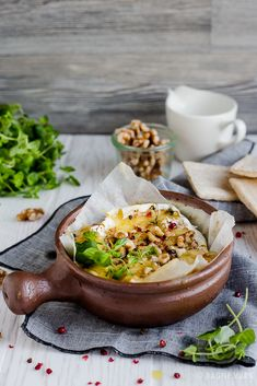 Baked camembert with honey and nuts.