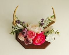 Real Floral Vintage Deer Antler Mount - Flower Pink Purple Feathers Wall Hanging Taxidermy Rack Home Decor Decoration Nursery Wedding Wood