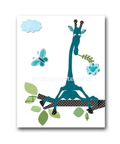 Giraffe Nursery Baby Boy Nursery art print by artbynataera on Etsy, $14.00